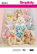 8044 Simplicity Pattern: Two Pattern Piece Stuffed Animals